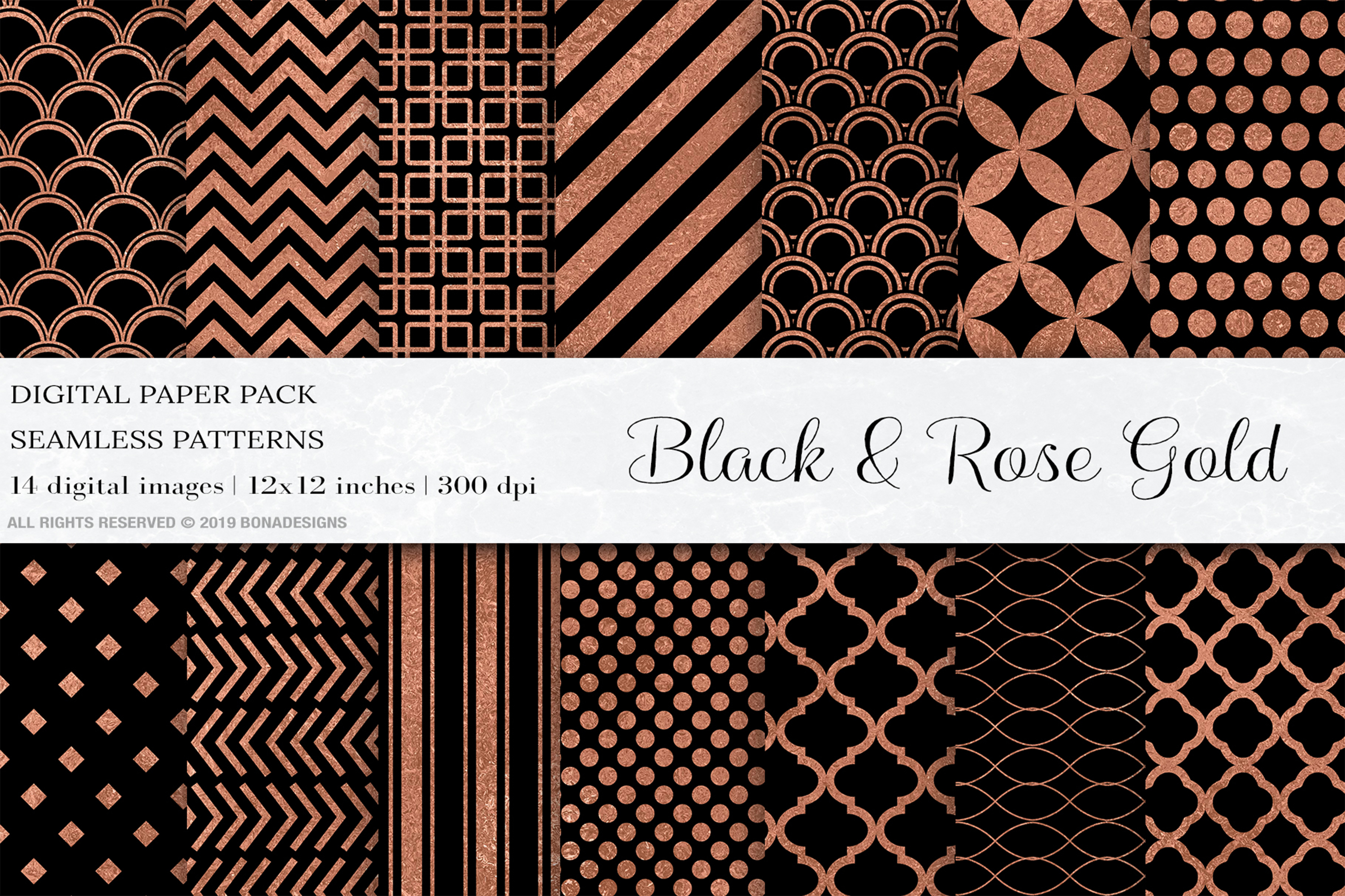 Black Rose Gold Digital Papers, Rose Gold Seamless Patterns example image 1