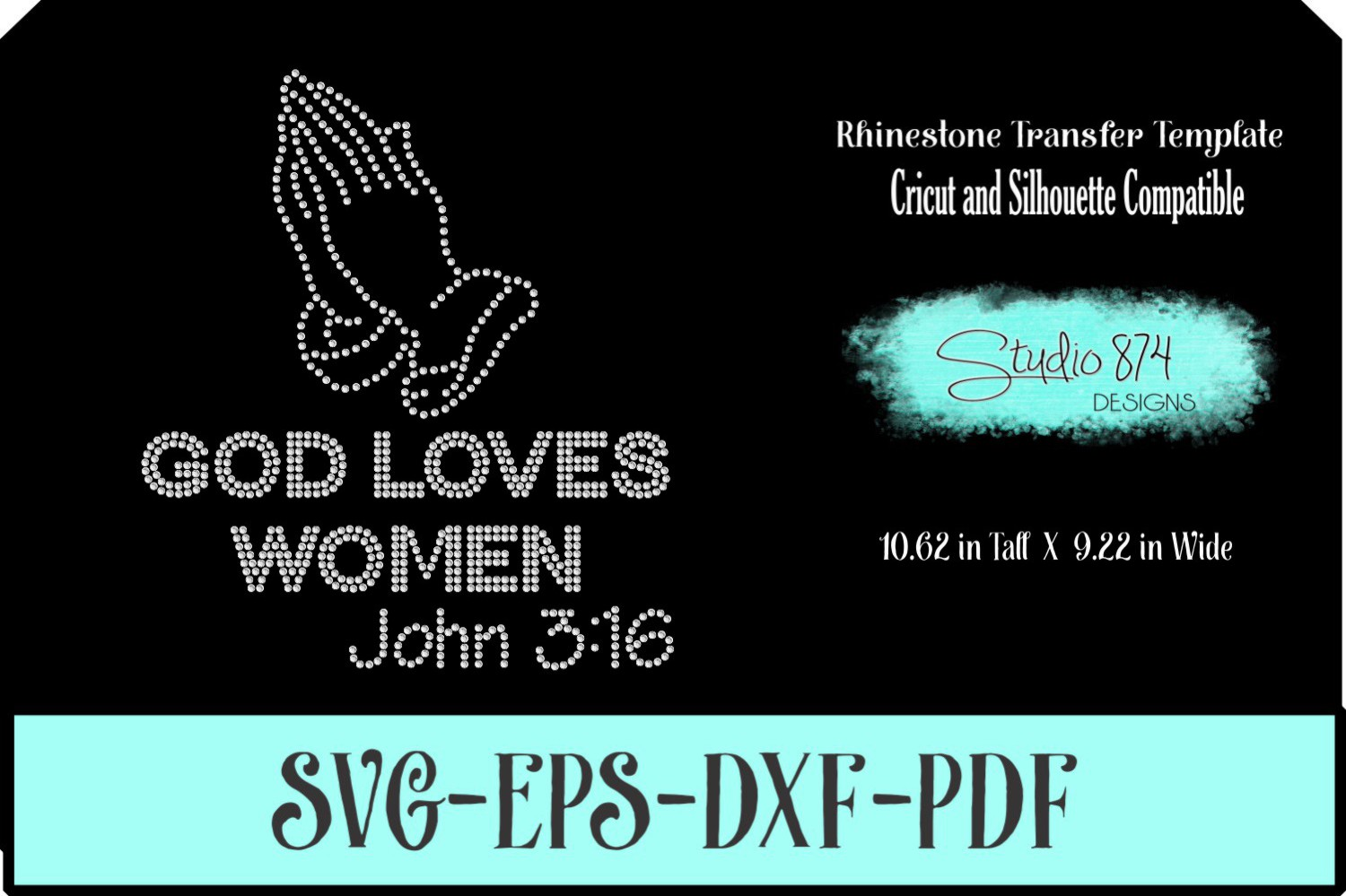 Faith Religious Rhinestone SVG Template - God Loves Women example image 1