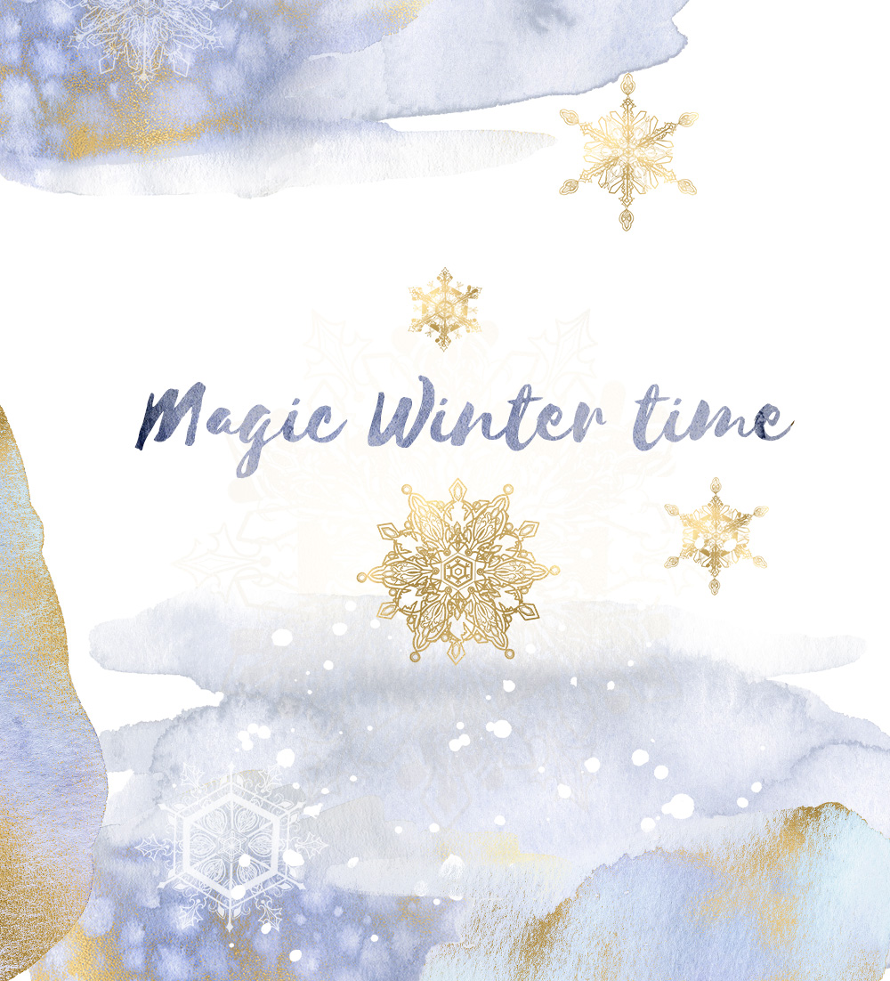 Winter snowflakes clipart set with watercolor splashes example image 5