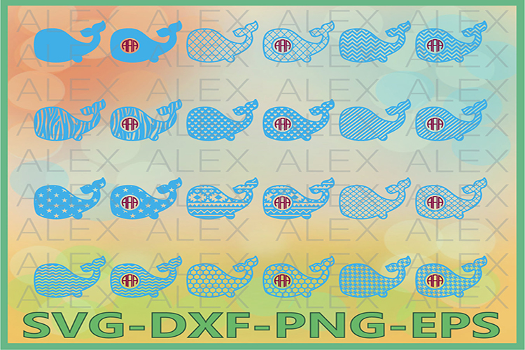 Whale svg, Whale Monogram Frame SVG, Whale SVG Cut Files example image 1