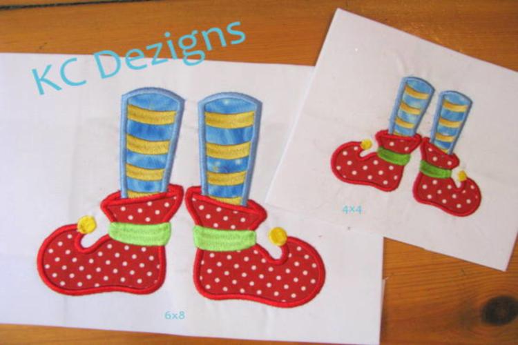 Elf Feet Machine Applique Embroidery Design example image 1