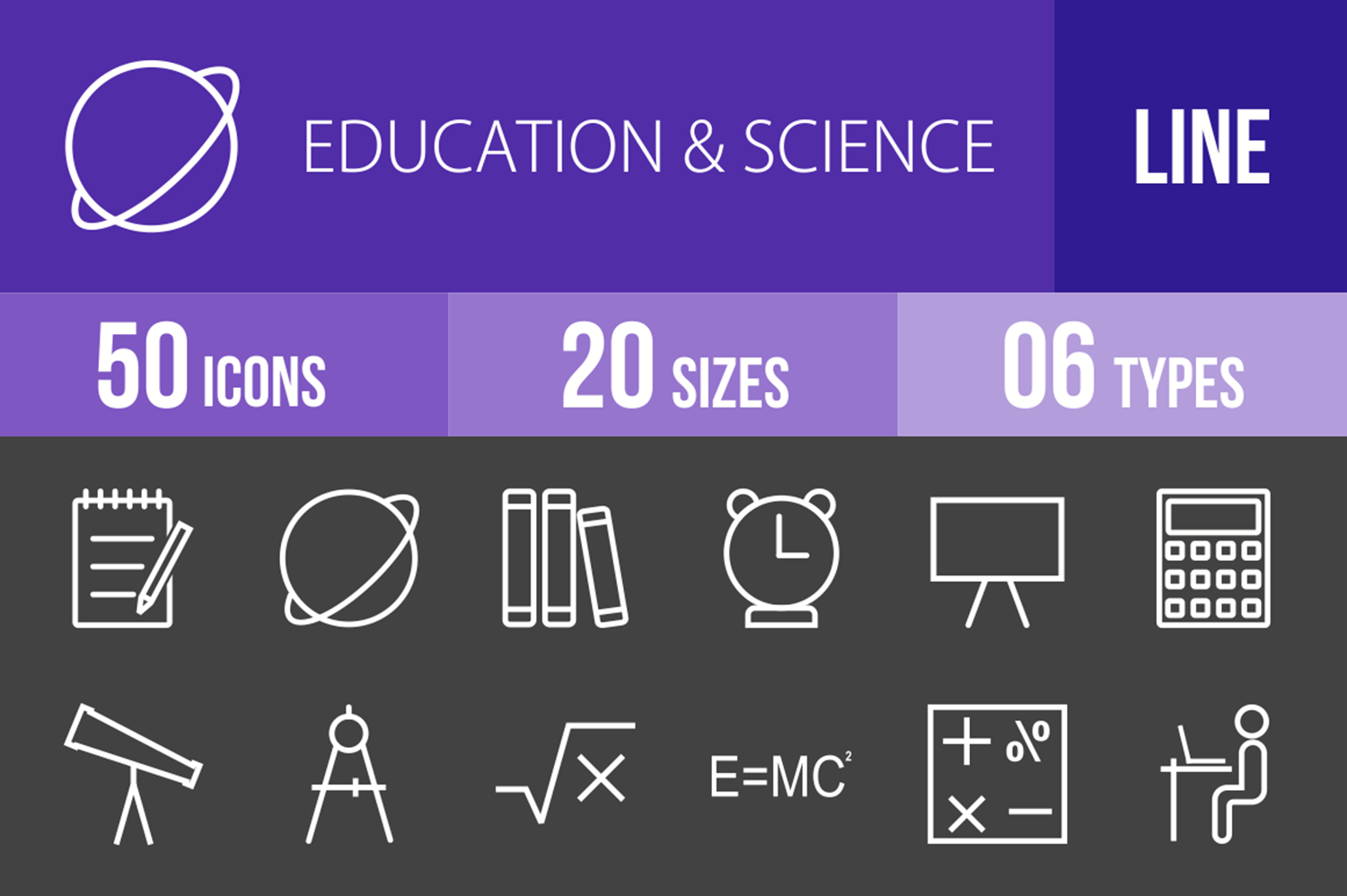50 Education & Science Line Inverted Icons example image 1
