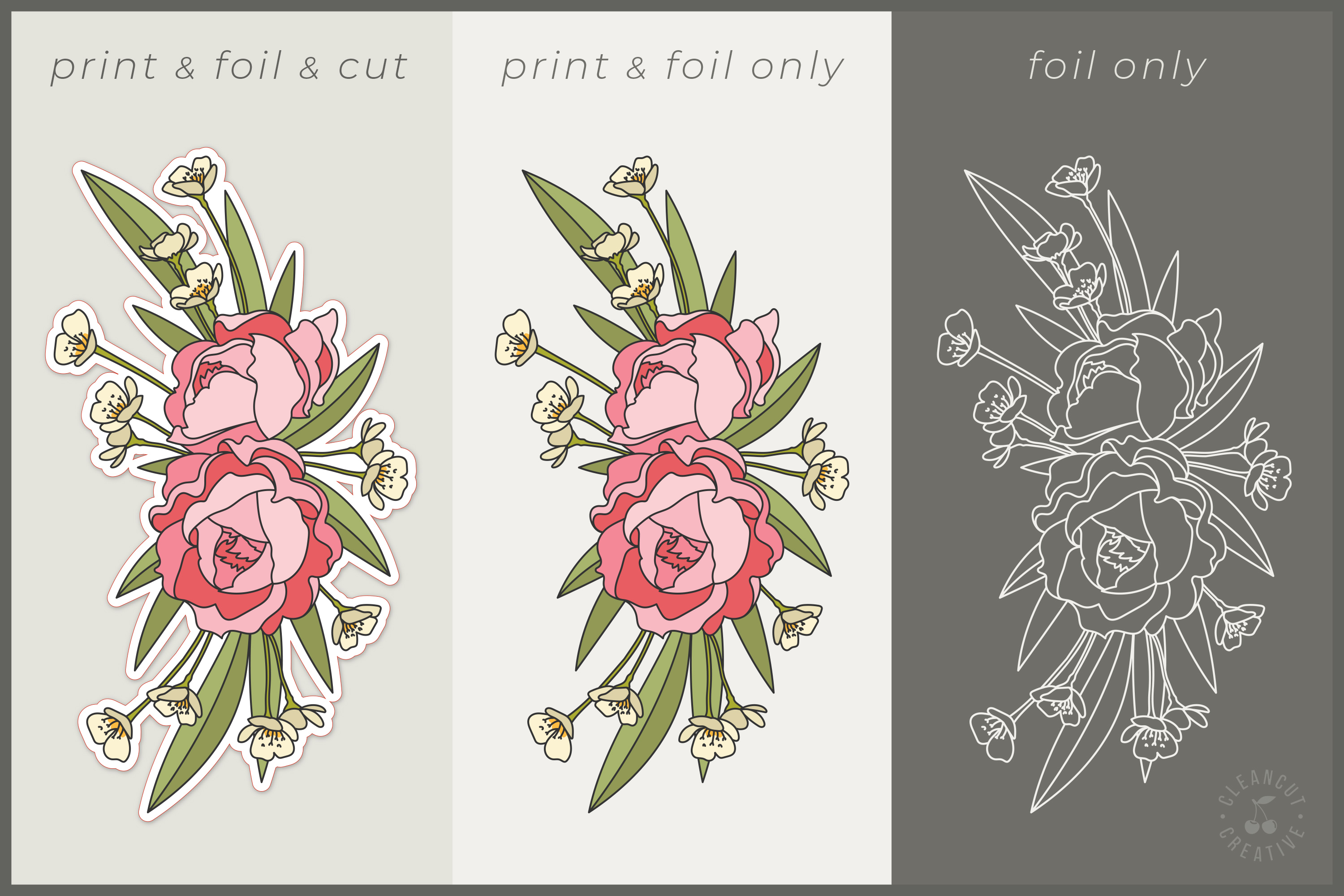 Foil Quill Flowers | Print & Foil single line sketch design example image 3