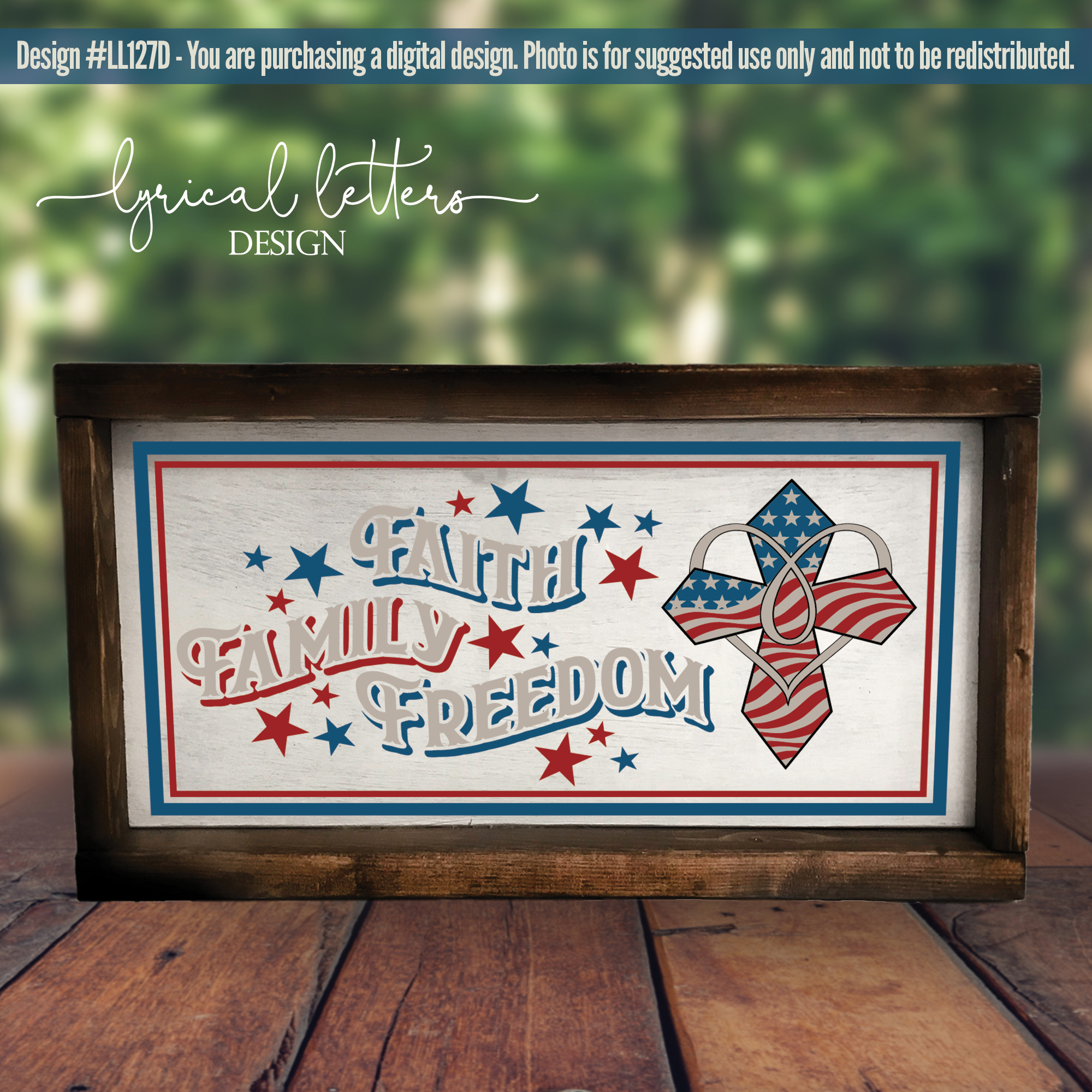 Faith Family Freedom with Cross Patriotic SVG DXF LL127D example image 2
