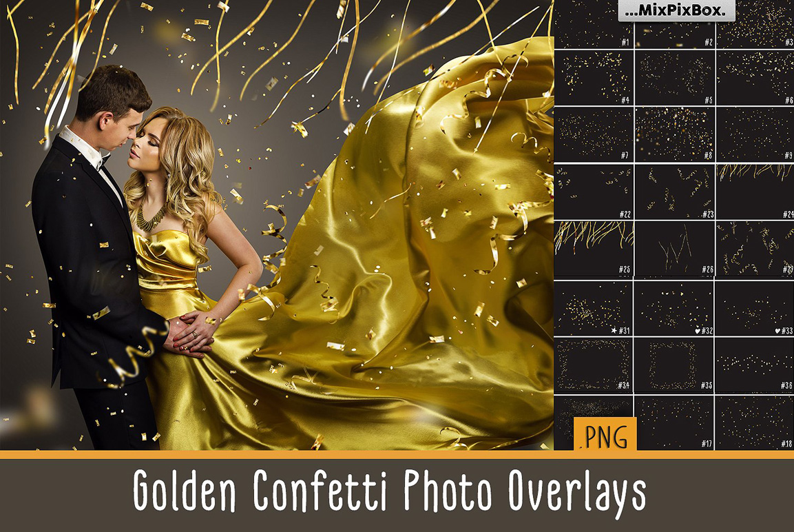 Golden Confetti Photo Overlays example image 1