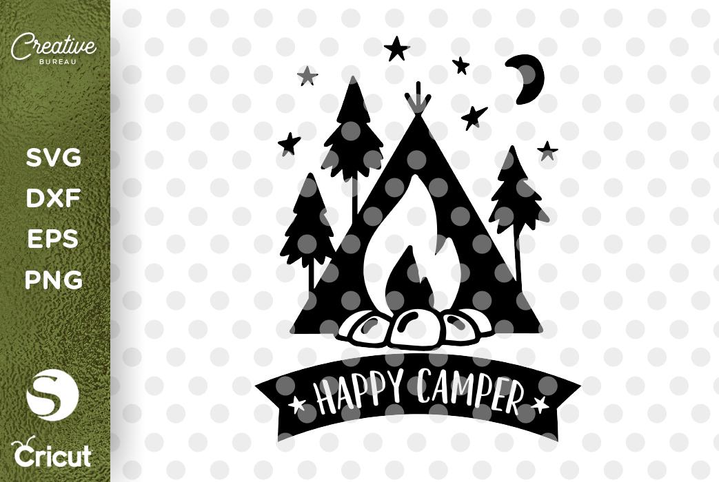 Happy Camper SVG DXf Cut File, Campers SVG, Camping SVG example image 1