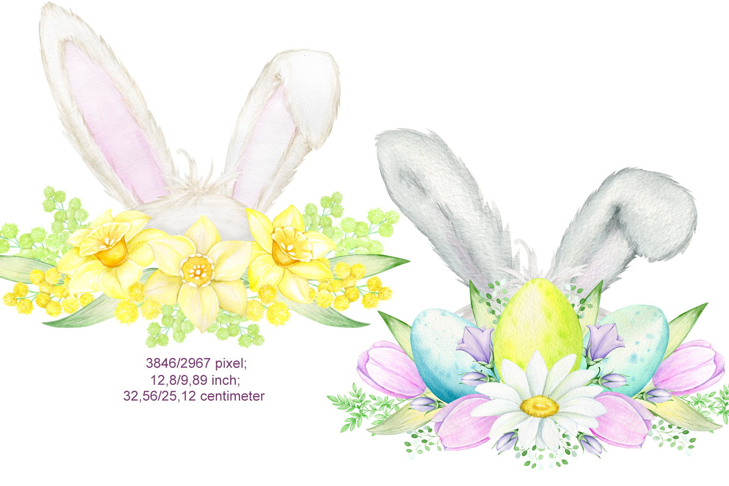 Watercolor Easter Bunny ears Clipart example image 3