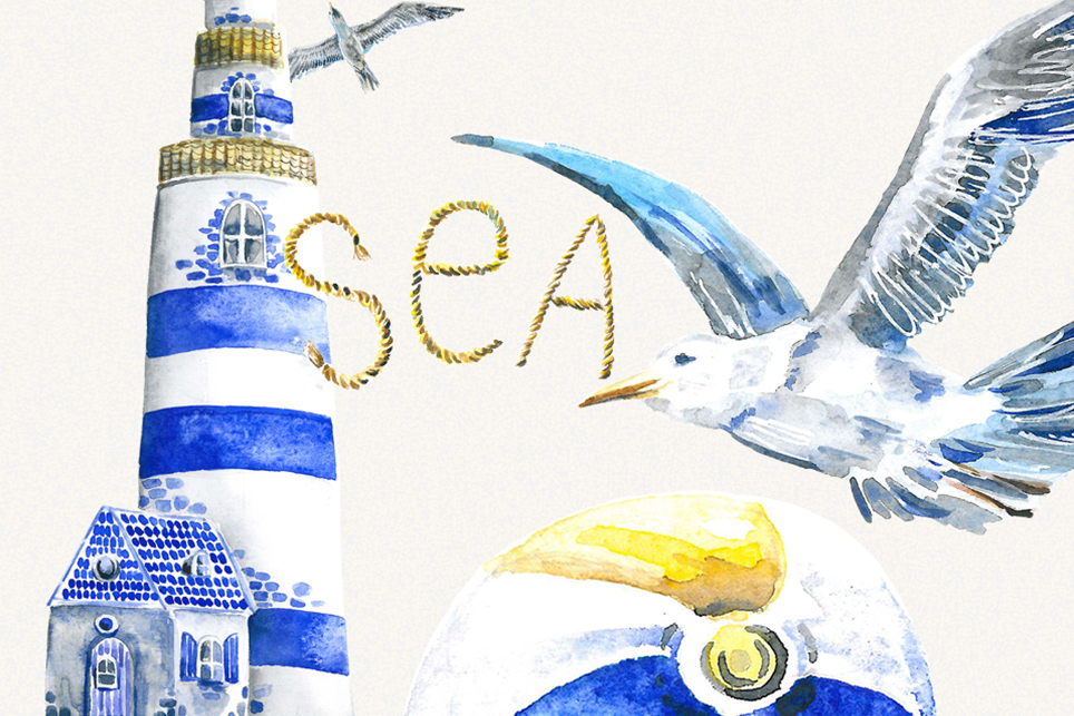 Vacation clipart, summer clipart, watercolor sea clipart example image 2