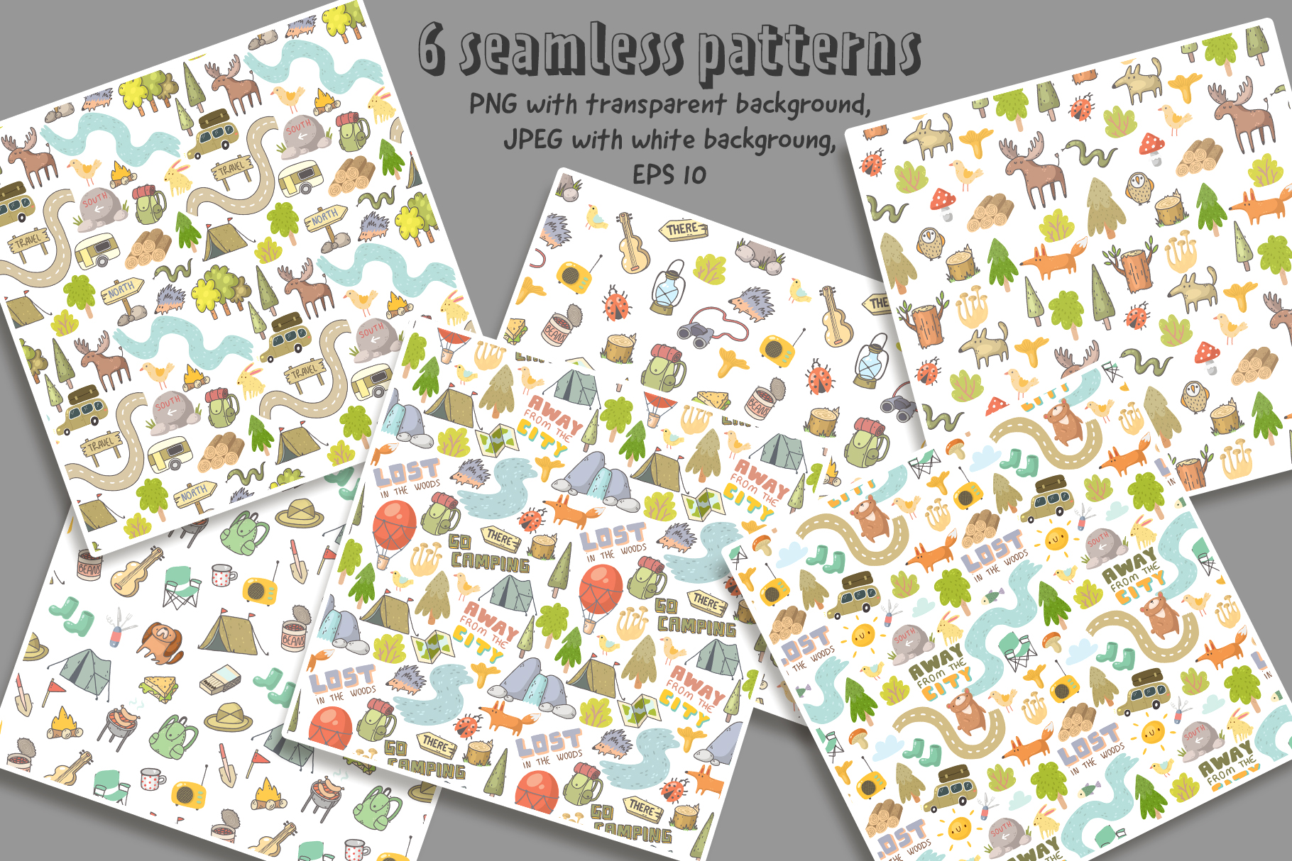 Camping clipart, patterns, designs example image 3