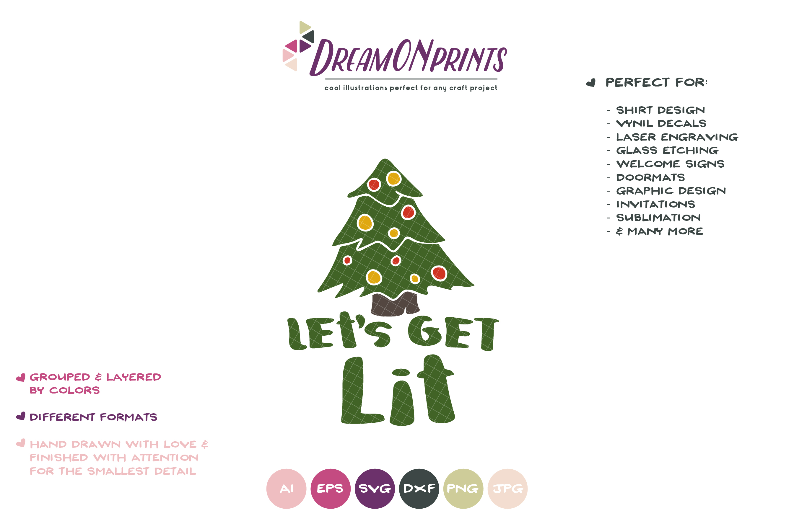 Let's Get Lit | Christmas Tree SVG example image 2