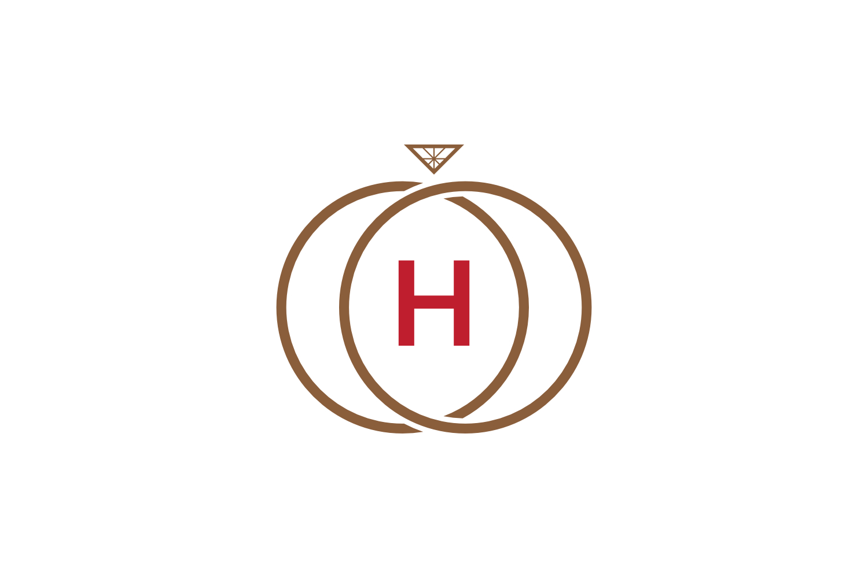 h letter ring diamond logo example image 1