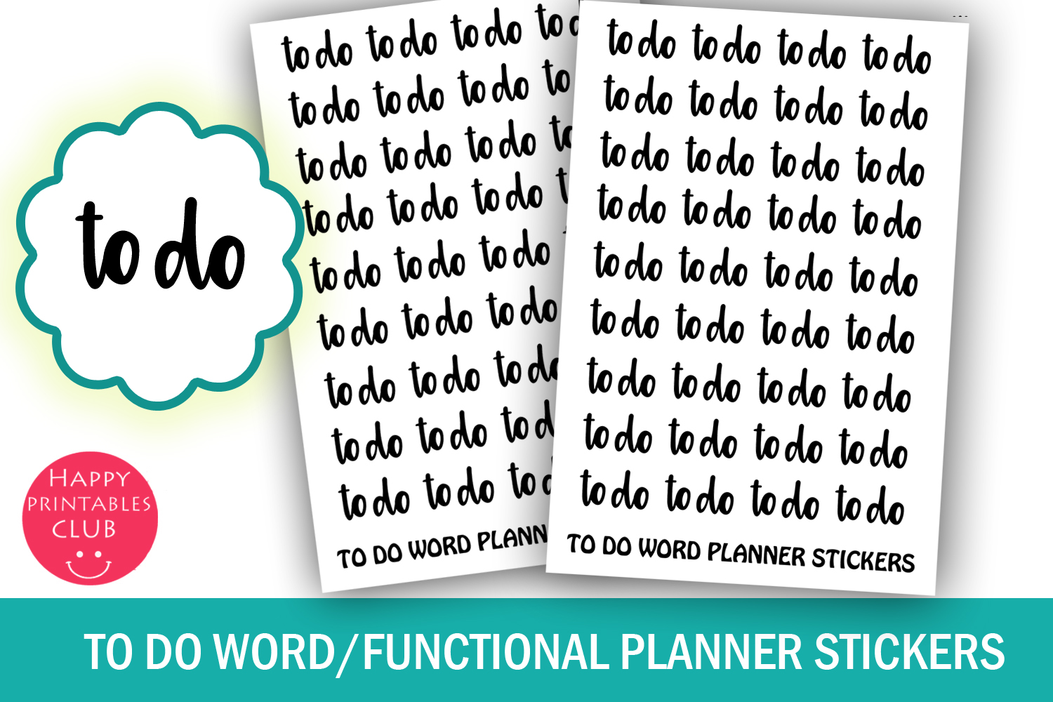 To Do Word Planner Stickers- To Do Functional Stickers-Cute example image 1