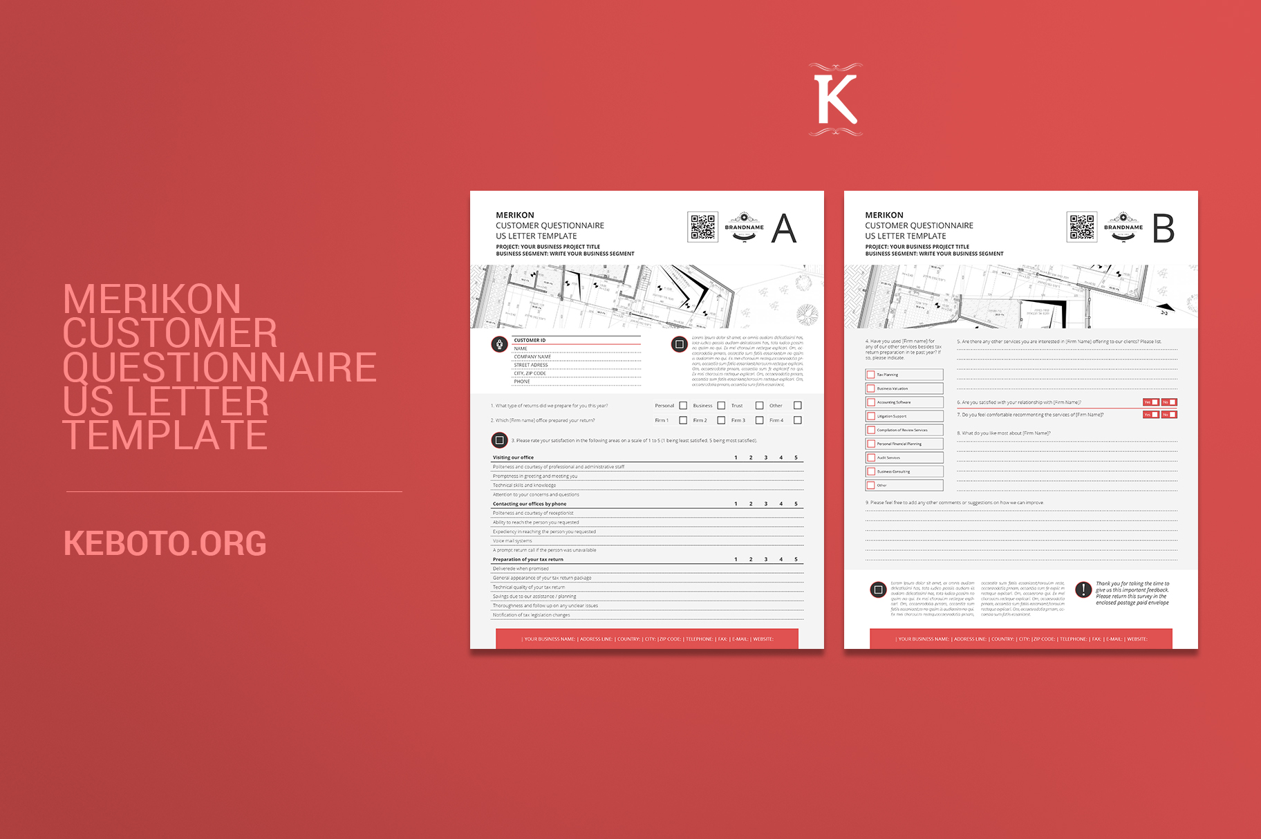 Merikon Customer Questionnaire US Letter Template Example Image 1