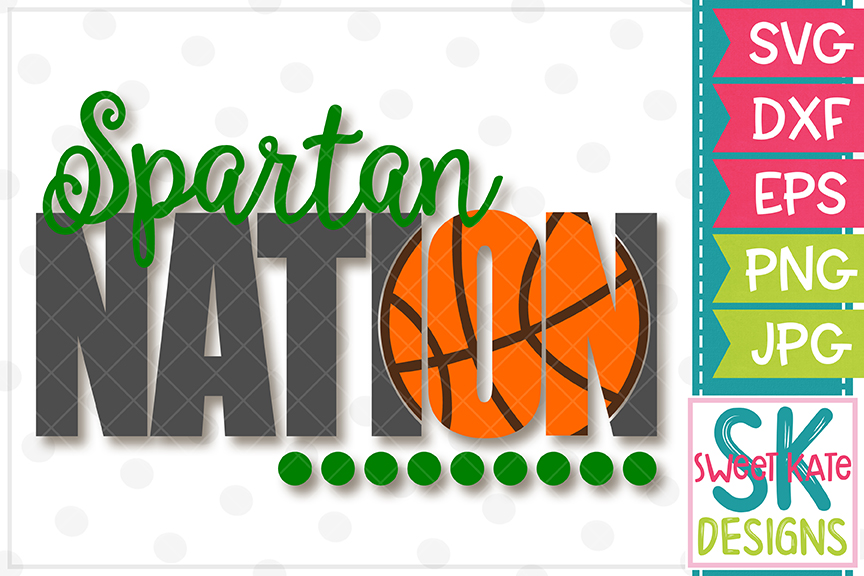 Spartan Nation with Knockout Basketball SVG DXF EPS PNG JPG example image 2