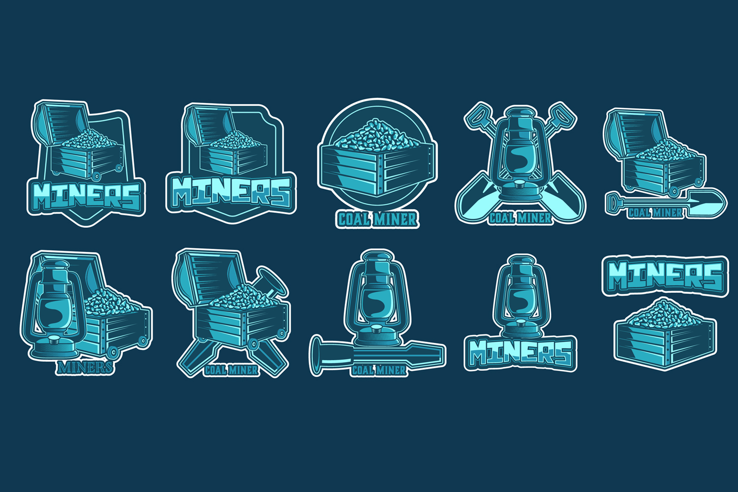Vector set of mining labels in vintage style example image 2