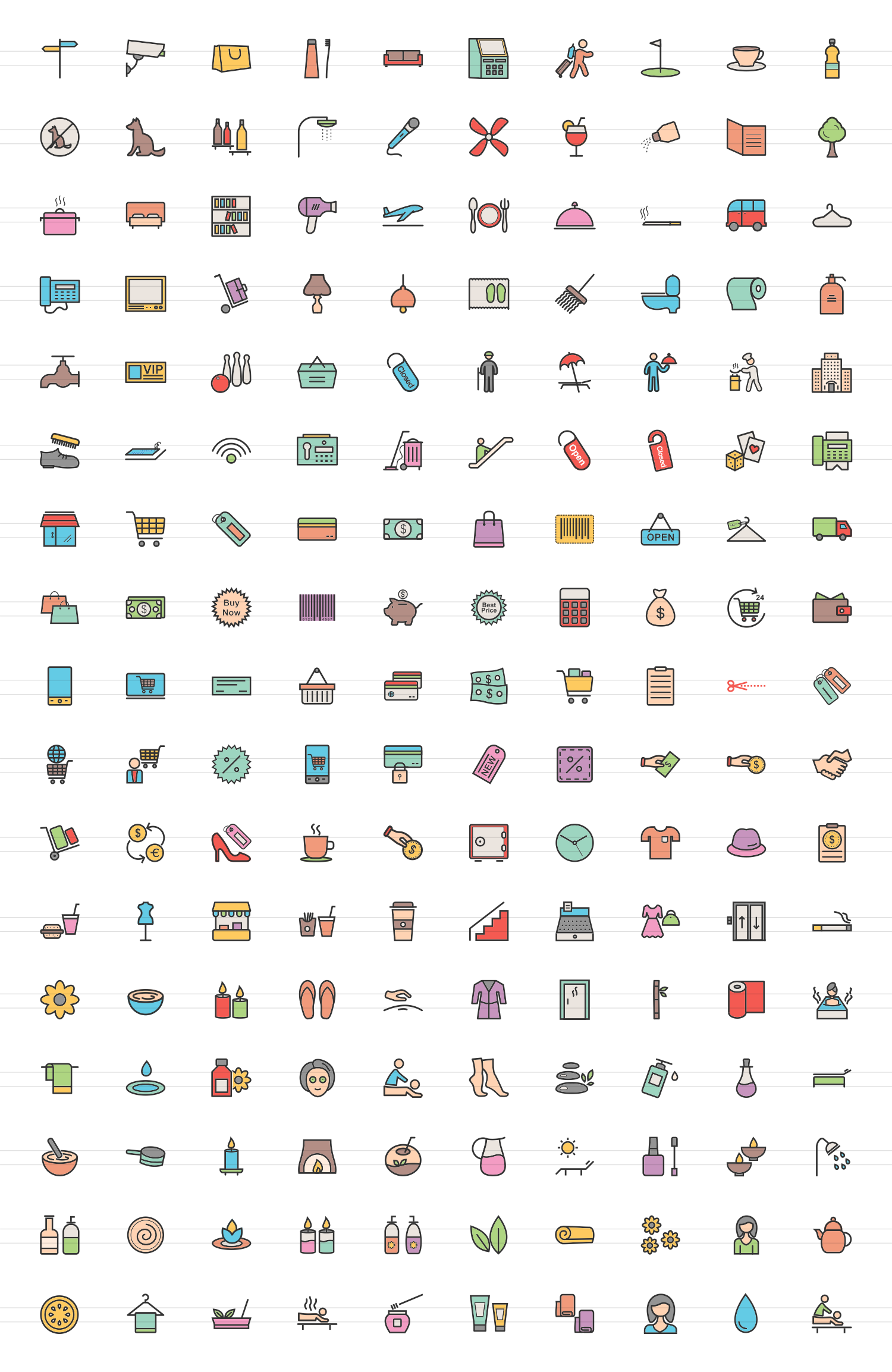 170 Hotel & Relaxation Filled Line Icons example image 4