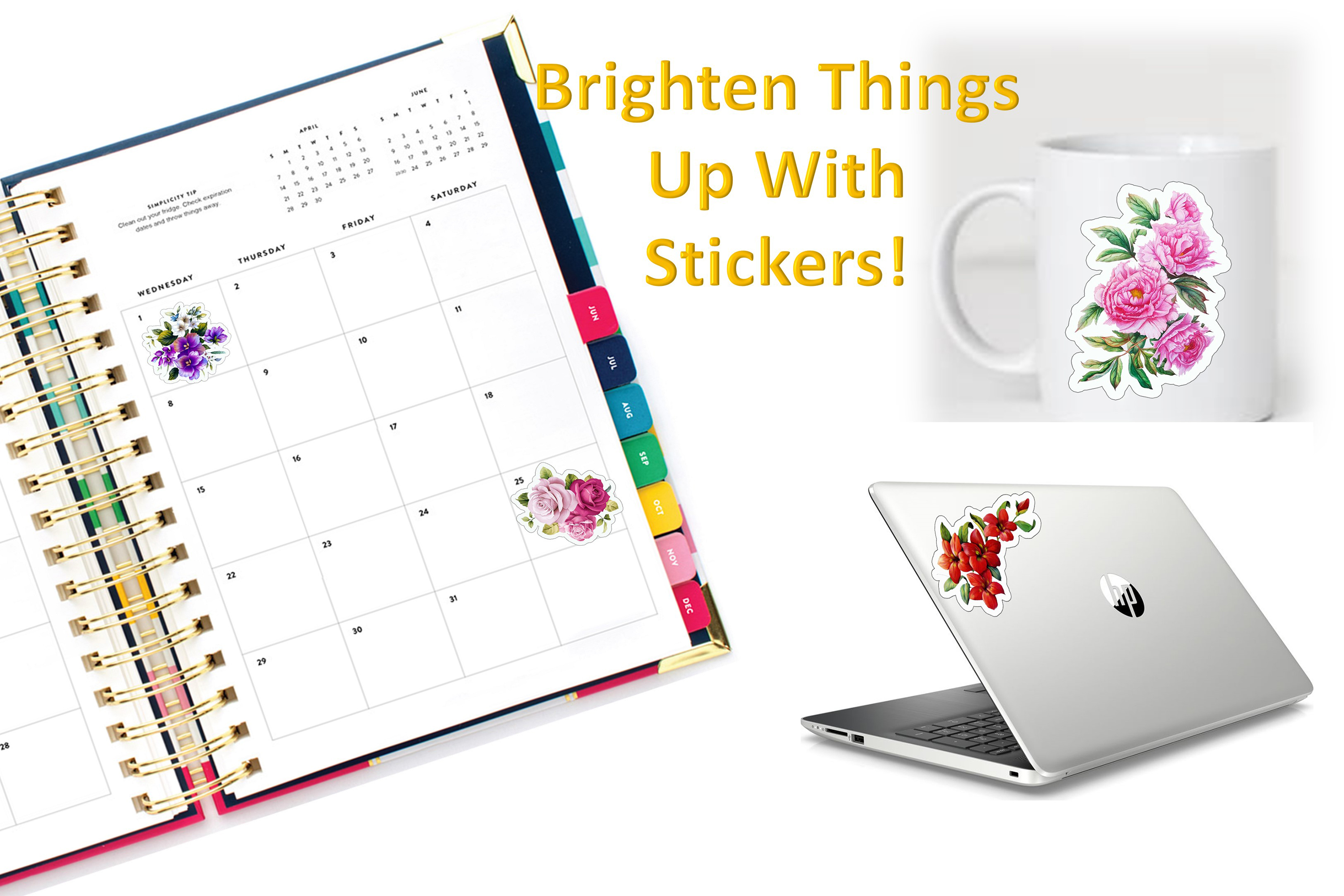 Flower Stickers SVG, PNG and JPEG Cricut, Silhouette. example image 2