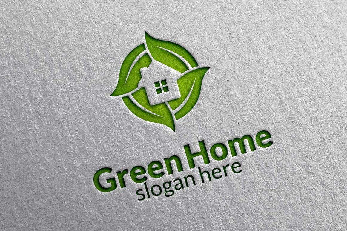 Real estate Logo, Green Home Logo 3 example image 6