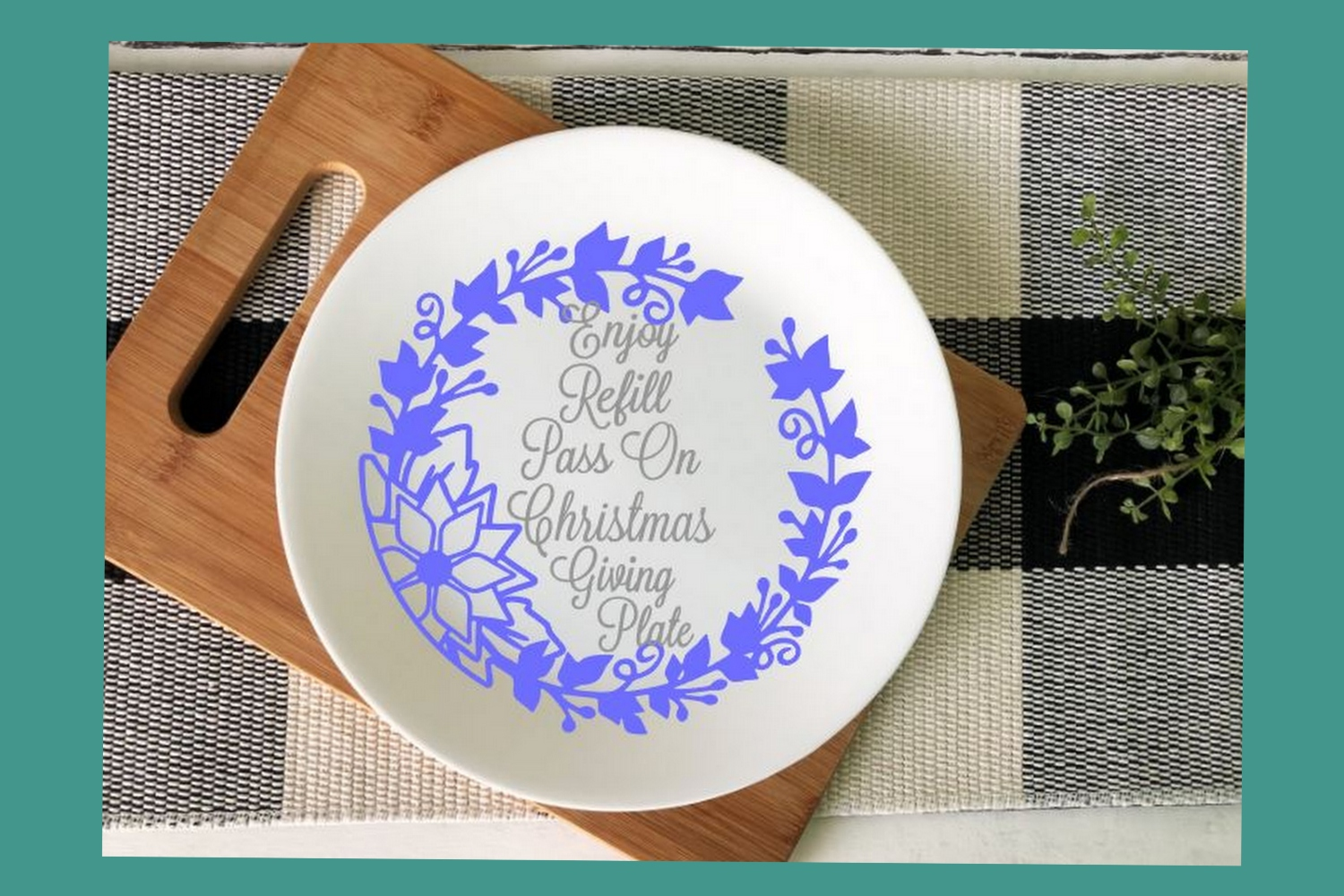 SVG Cut File Christmas Giving Plate Design #06 example image 4