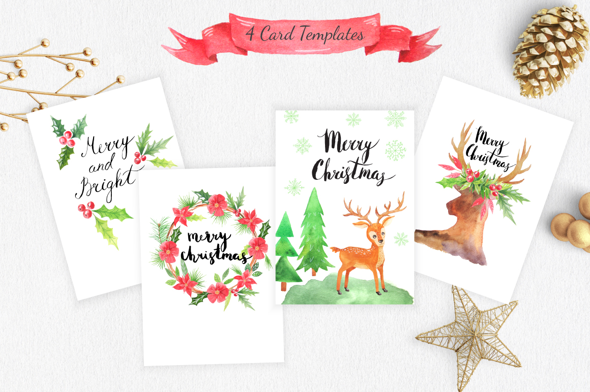 Watercolor Christmas Design Pack example image 6