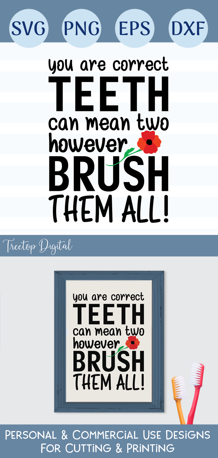 Brush Your Teeth, A Bathroom Sign, SVG or Sublimation example image 3
