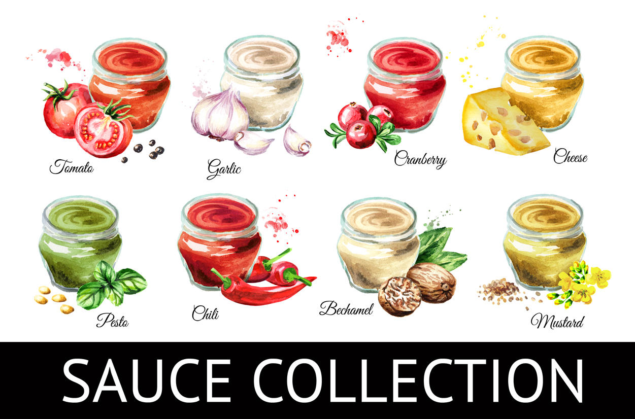 Sauce collection. Watercolor set example image 1