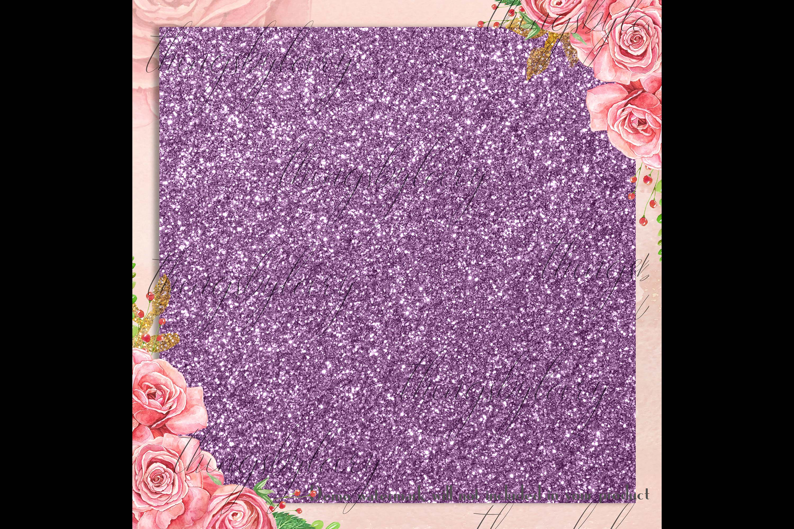 42 Amethyst Plum Purple Lilac Glitter Sequin Digital Papers example image 2
