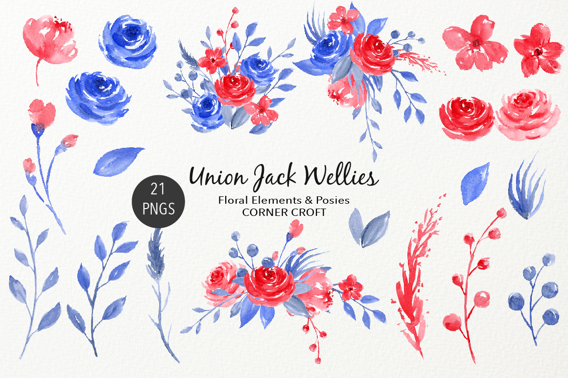 Watercolour Union Jack Welly Illustration, Welly Clipart, Rain Boots  example image 3