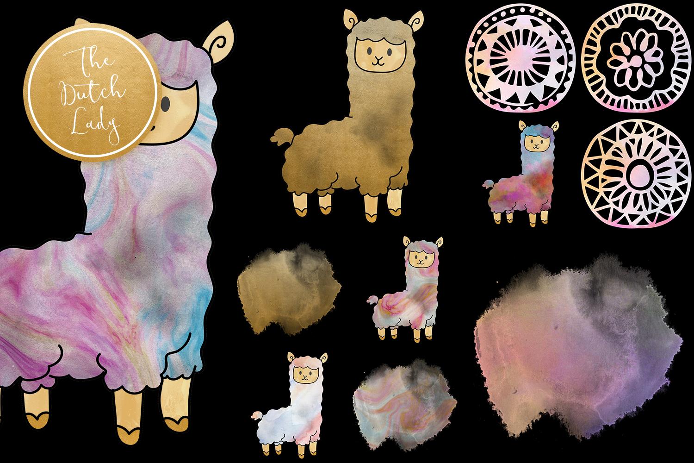 Pastel Lama & Alpaca Clipart Set example image 4