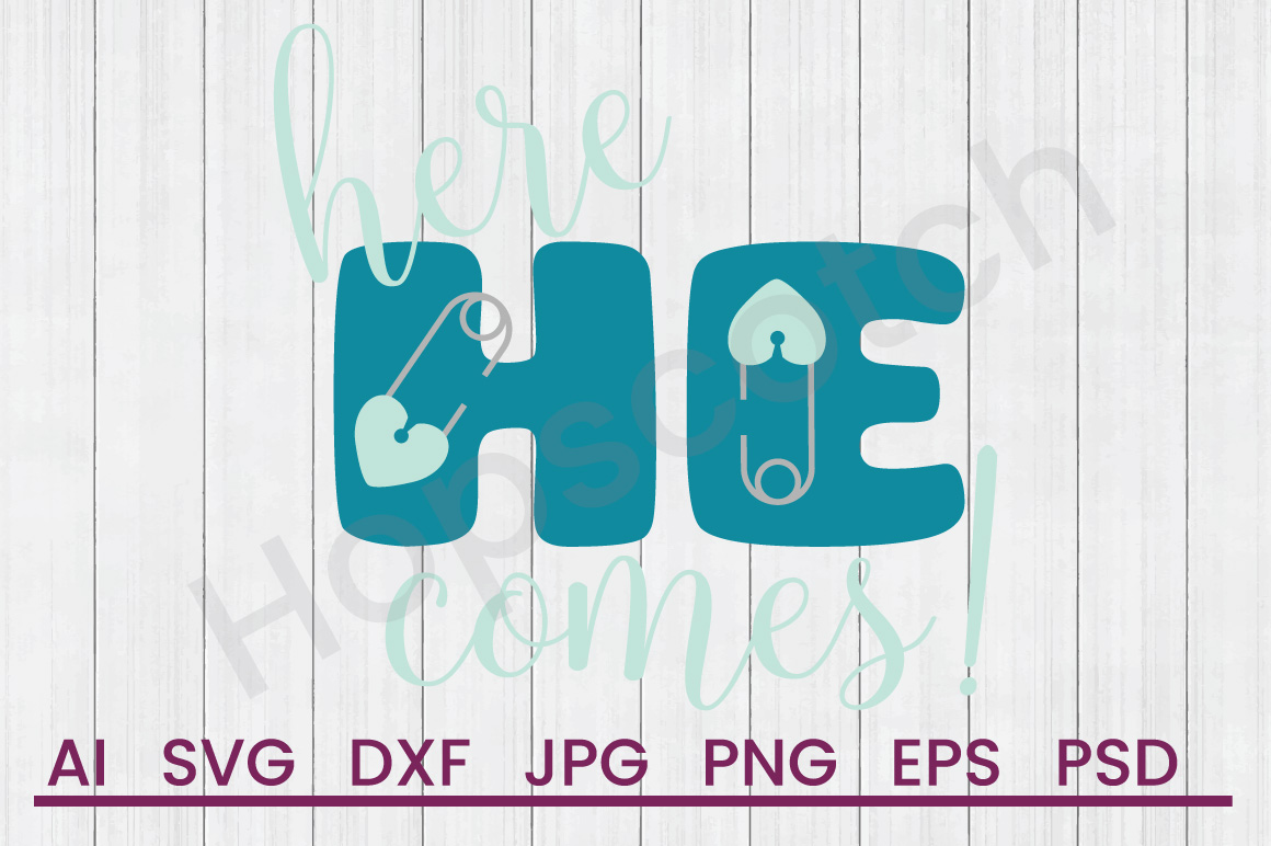 Diaper Pin SVG, Here He Comes SVG, DXF File, Cuttatable File example image 1