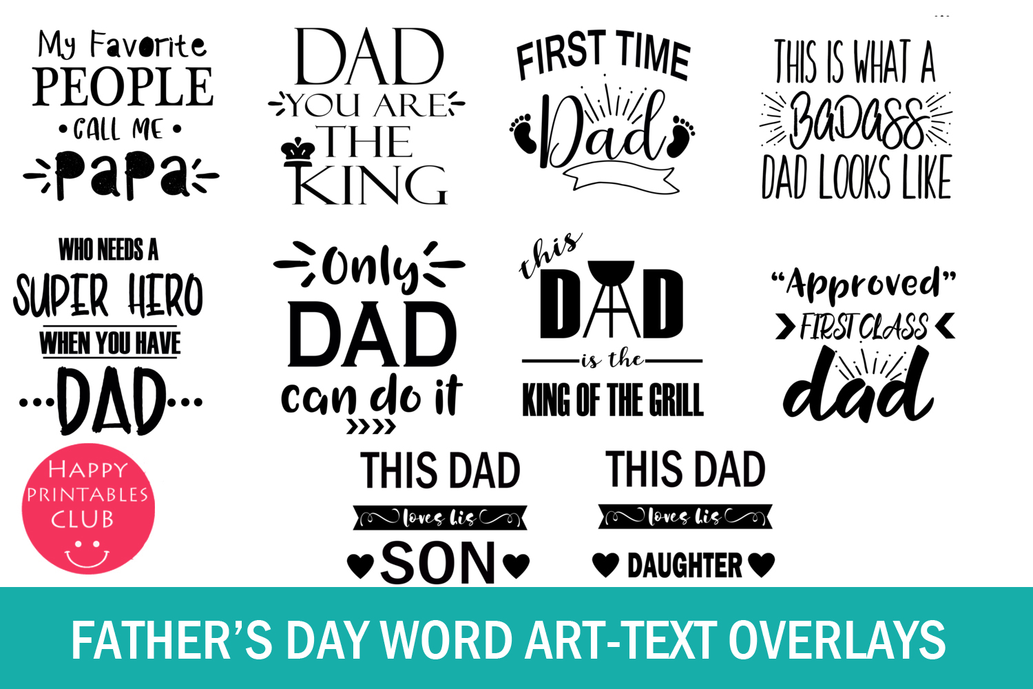 Father's Day Cards-Dad Word Art-Fathers Day Text Overlays example image 3
