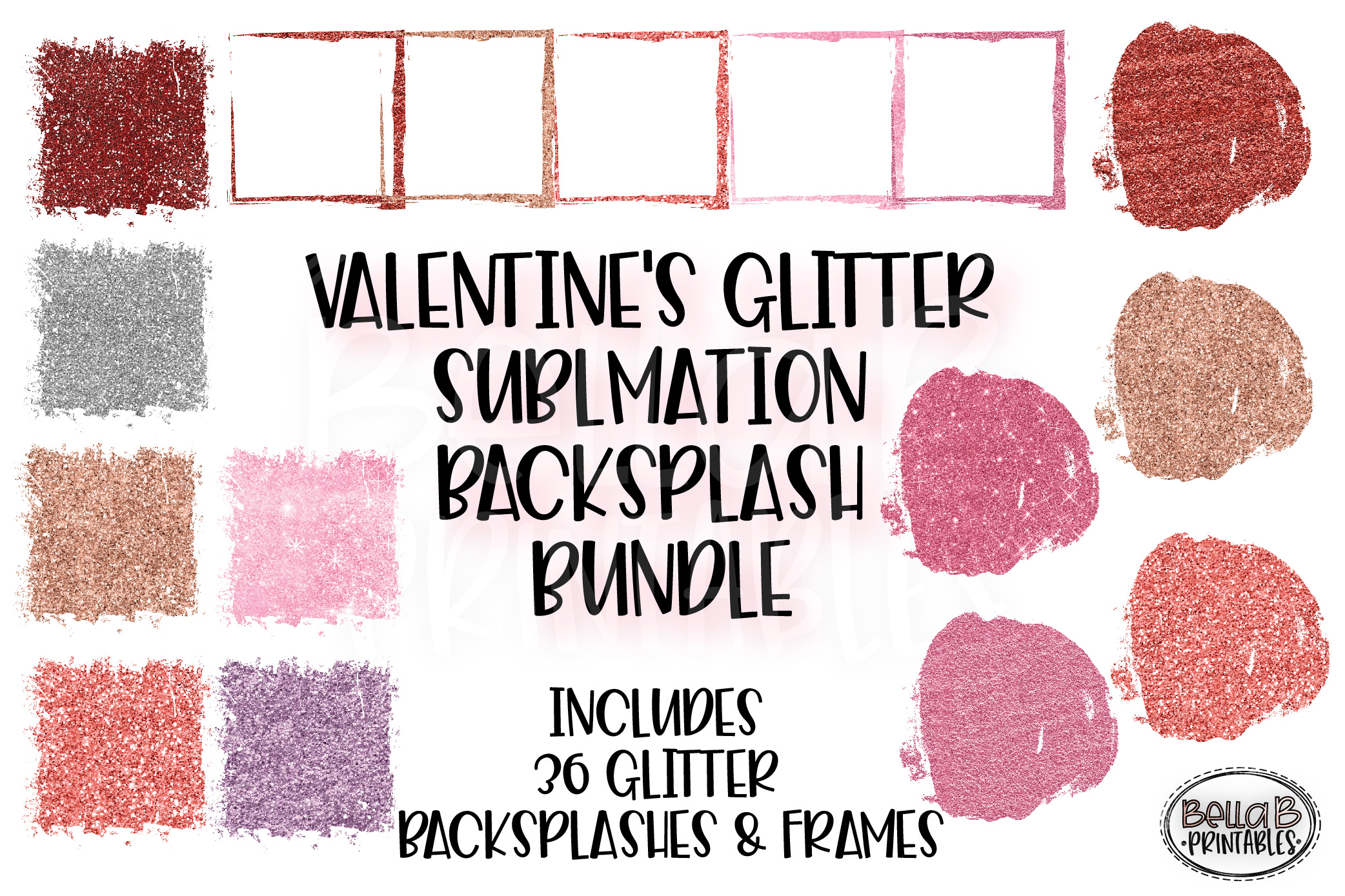Valentines Glitter Sublimation Background Bundle, Frames example image 1