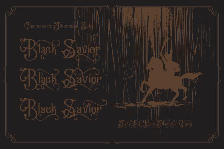 Black Savior - decorative calligraphy Display Font example image 4