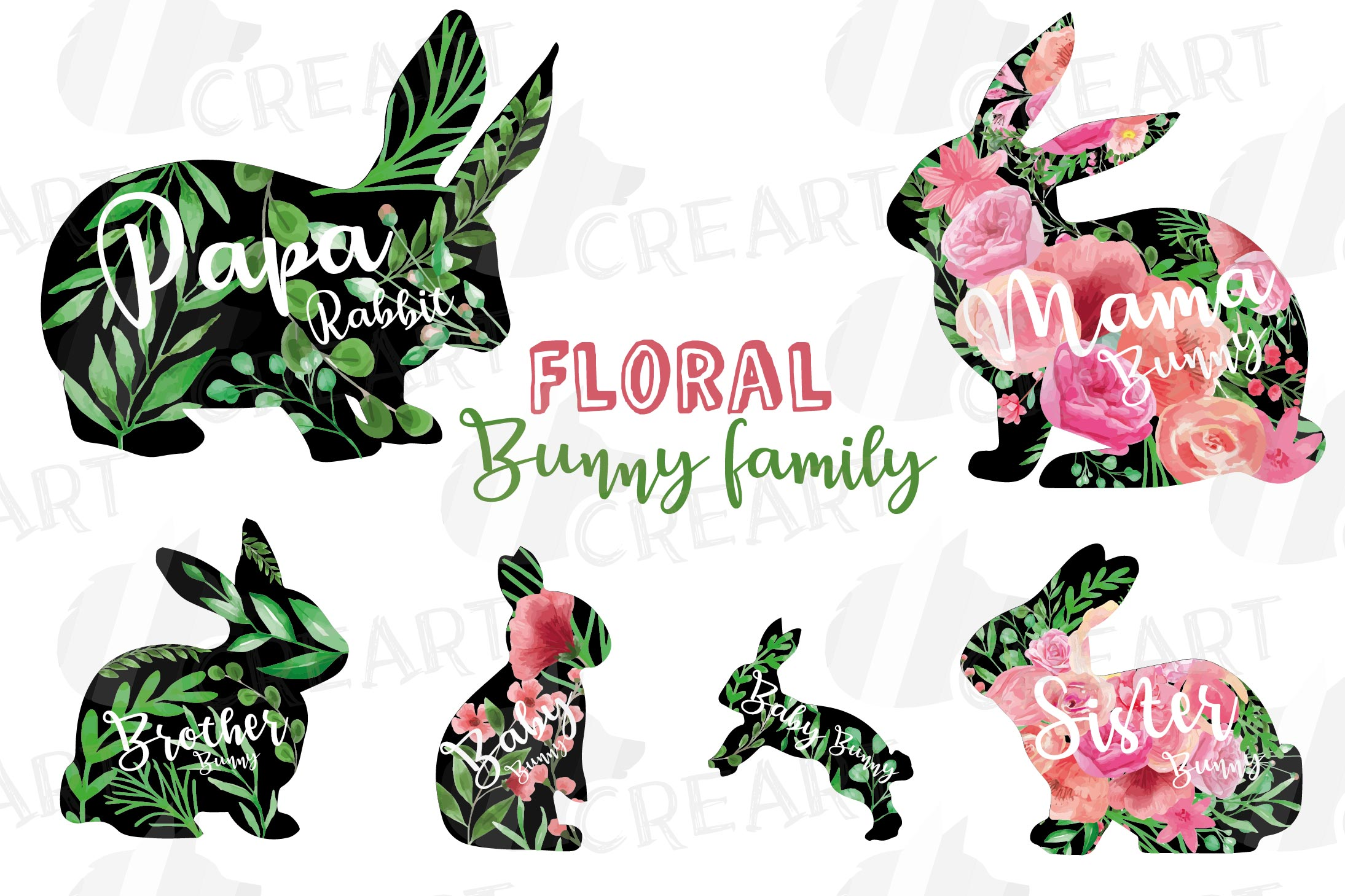 Floral rabbit family, sister, brother,papa and mama bunny example image 2