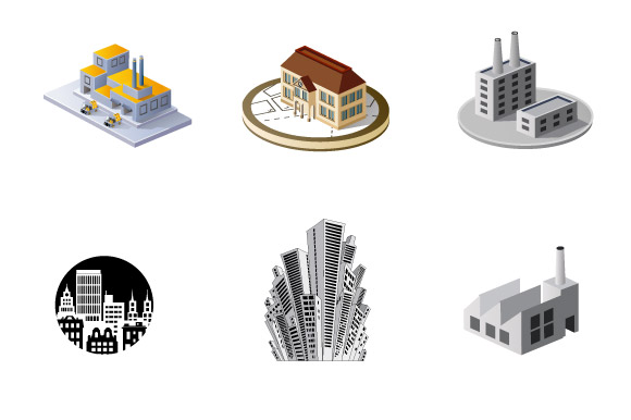 Vector industrial and city buildings example image 3