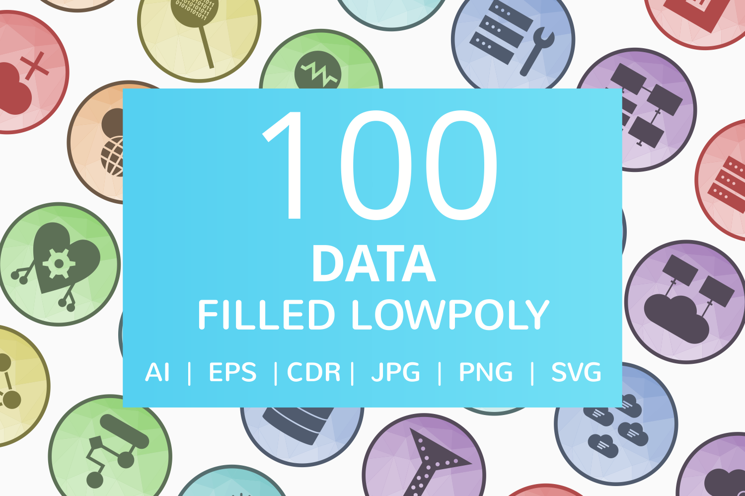 100 Data Filled Low Poly Icons example image 1