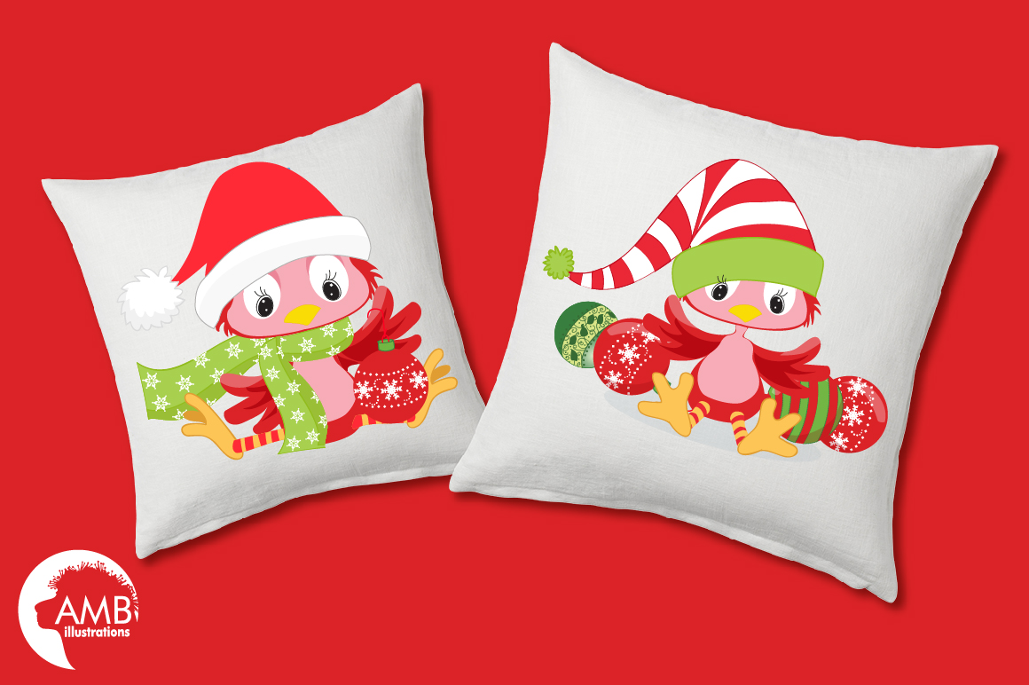 Christmas red birds clipart, graphics, illustrations AMB-193 example image 4