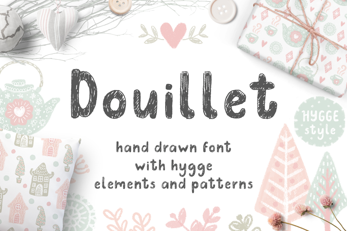 Douillet Font with Hygge Clipart! example image 1