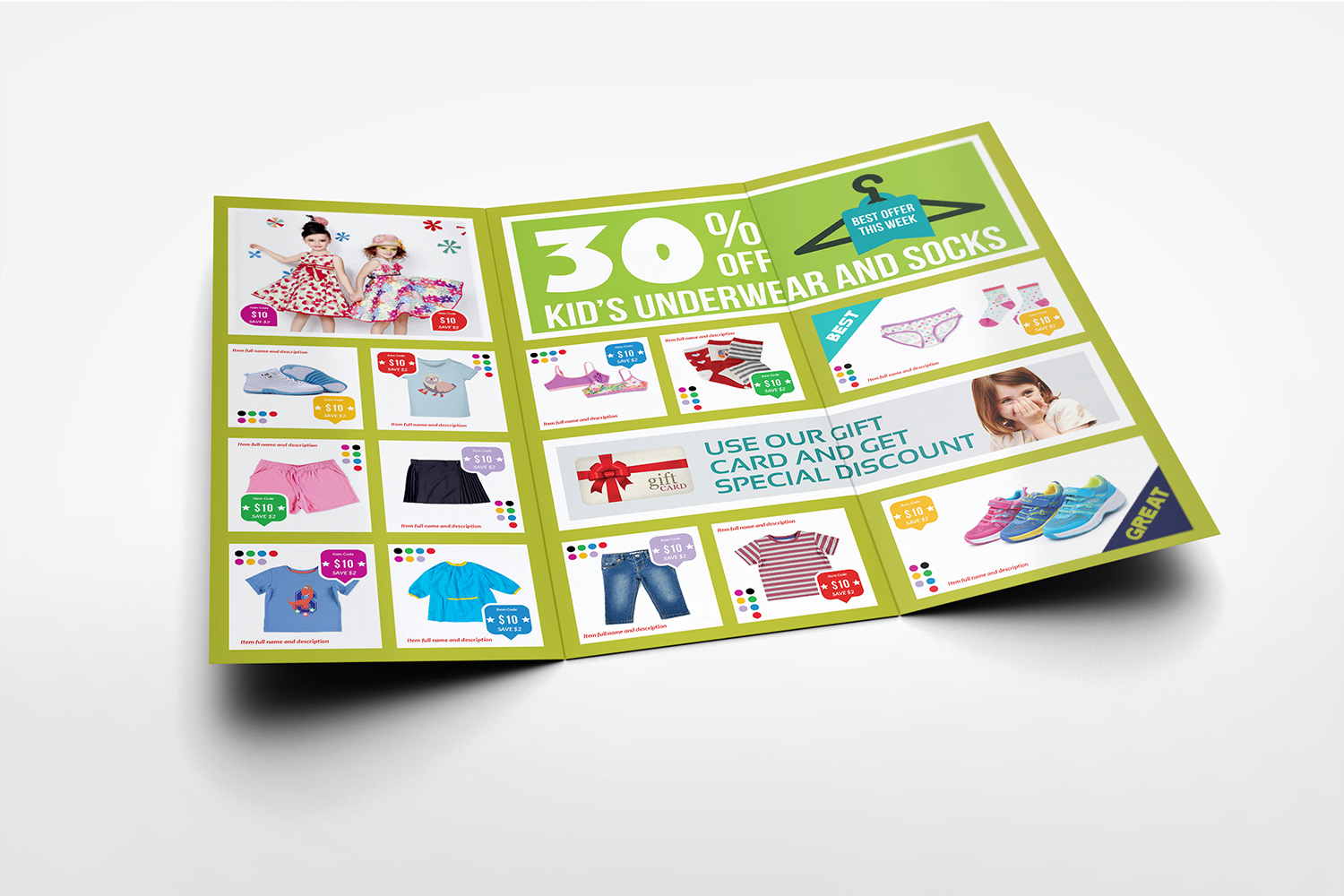 Kids Fashion Products Catalog Tri-Fold Brochure Tempalte example image 3