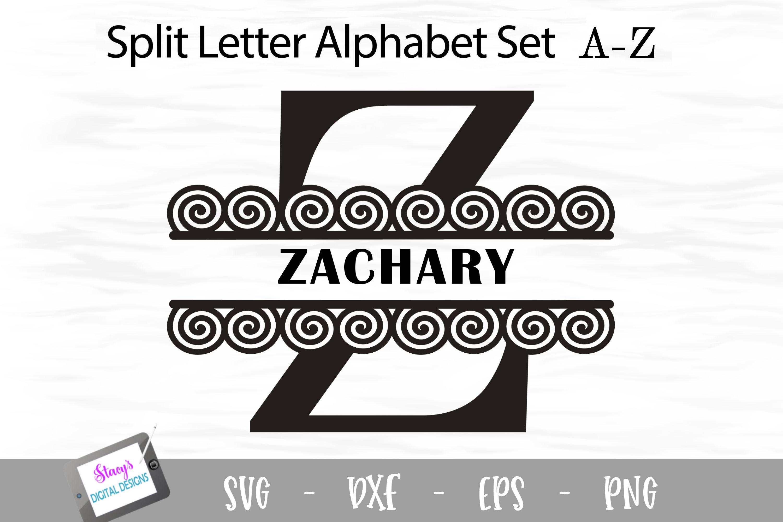Split Letters A-Z - 26 Split Monogram SVG files with spirals example image 6