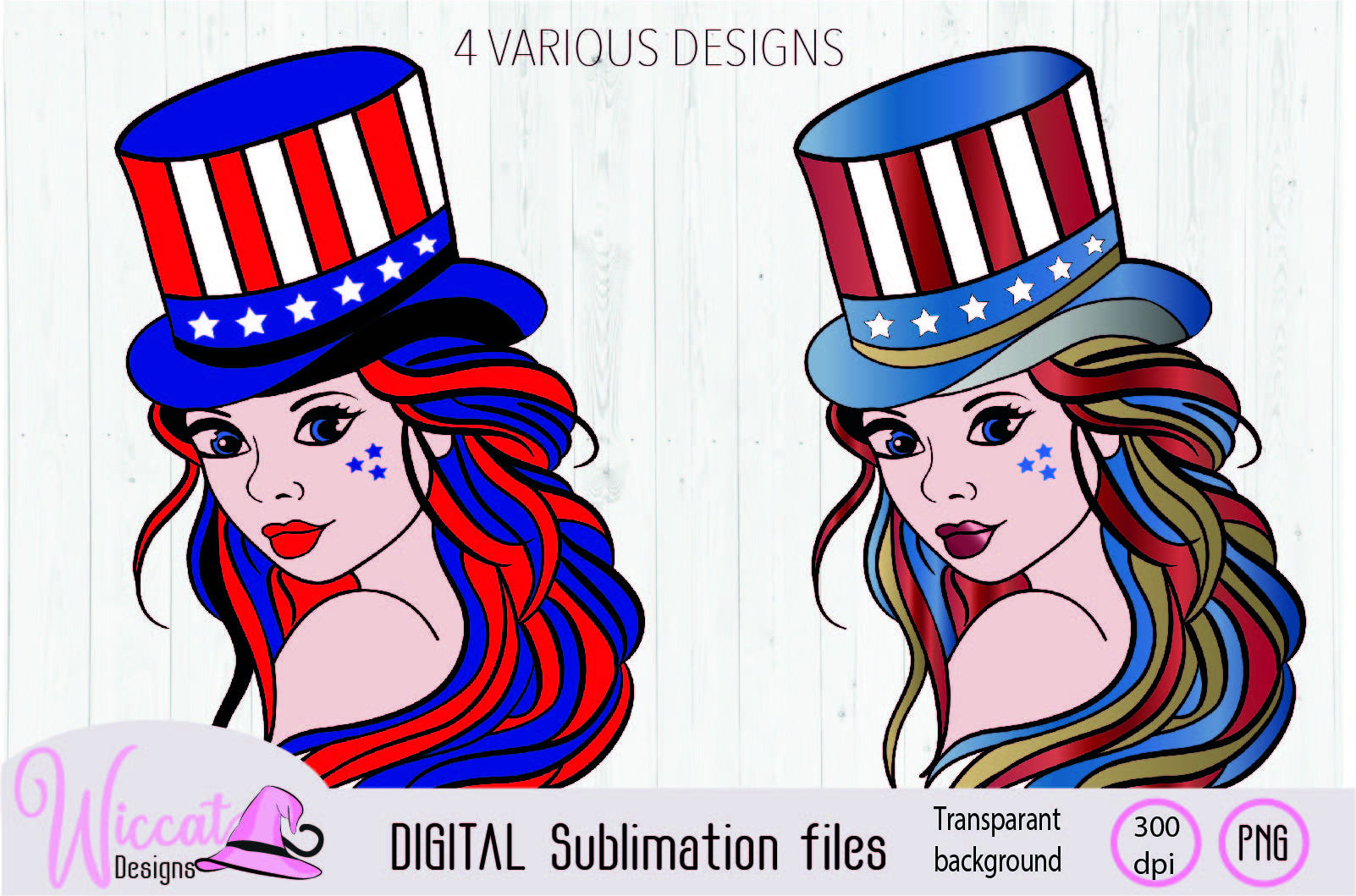 Girl with top hat in USA and rainbow sublimation example image 1