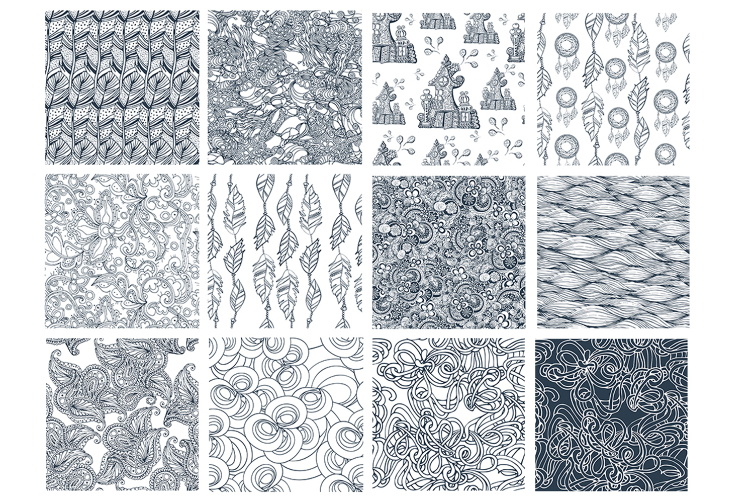 17 Doodle patterns for pillow design example image 2