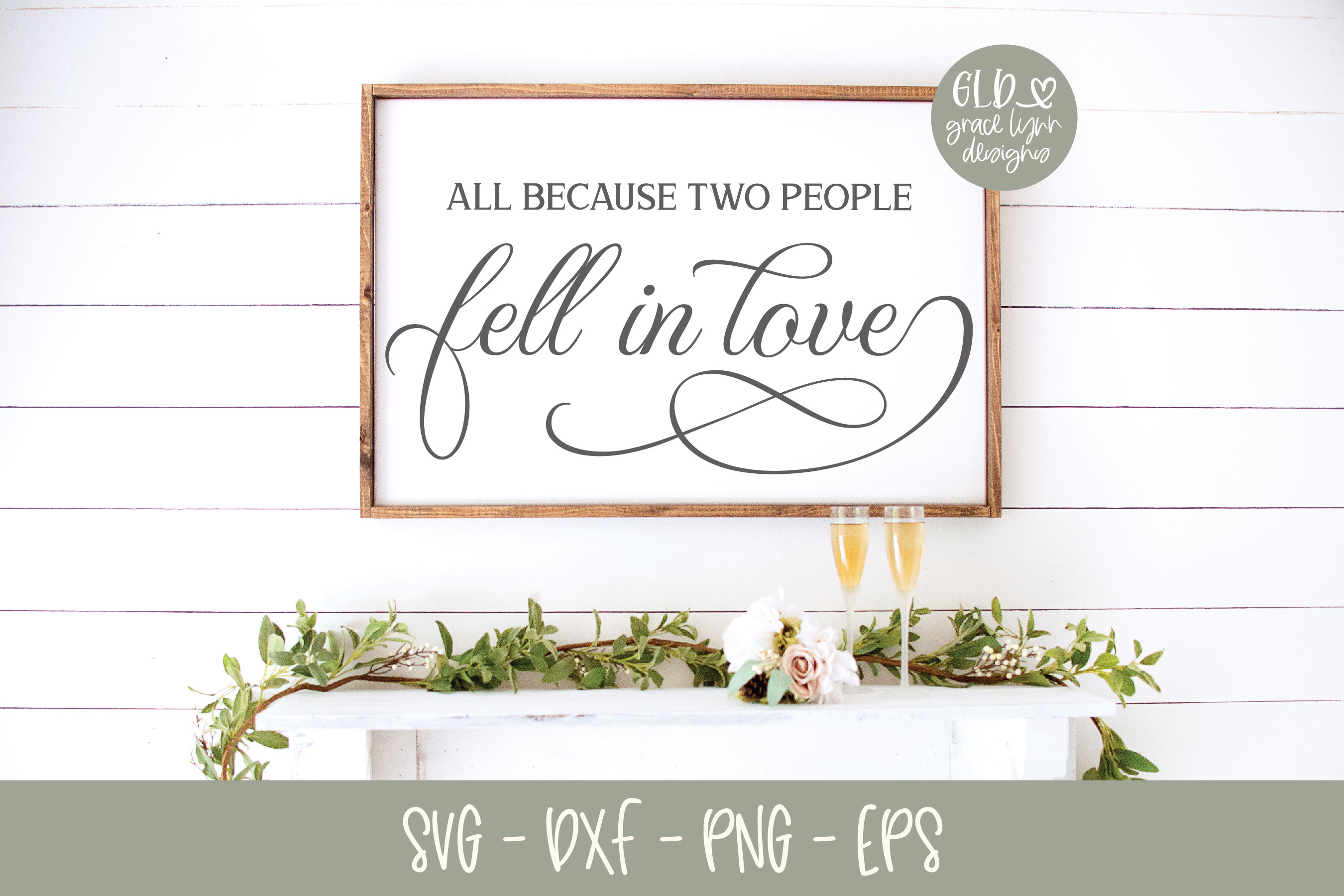 All Because Two People Fell In Love - Wedding SVG example image 1