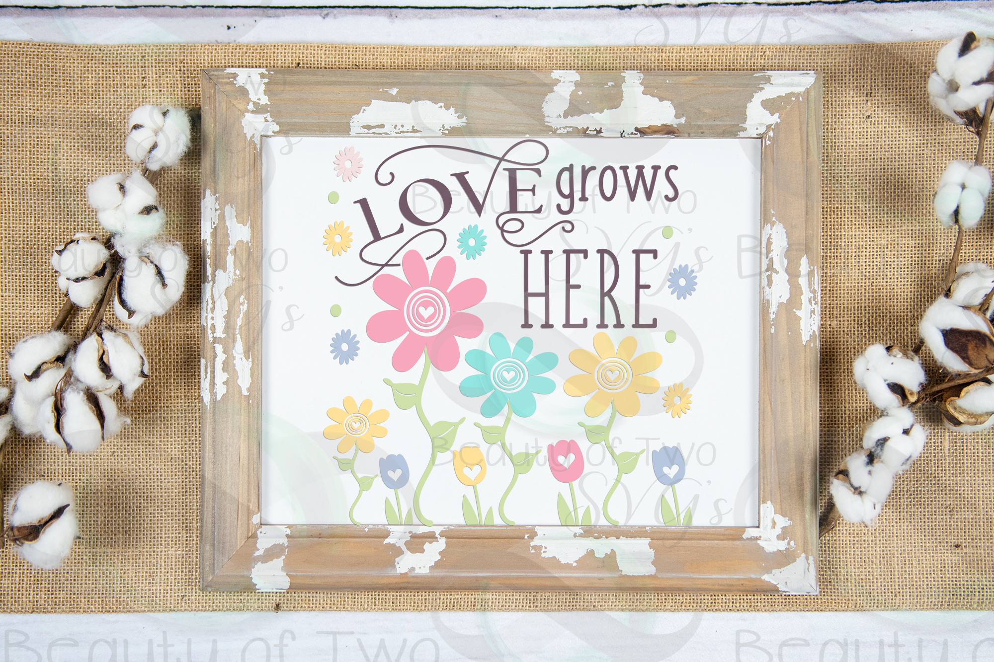 Spring Flowers svg, Love Grows Here Farmhouse svg, Spring example image 1