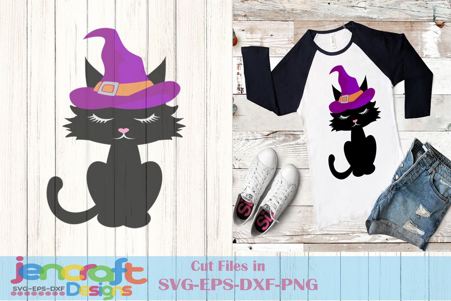 Black Cat Witch Hat Halloween Trick or Treat Cauldron example image 1