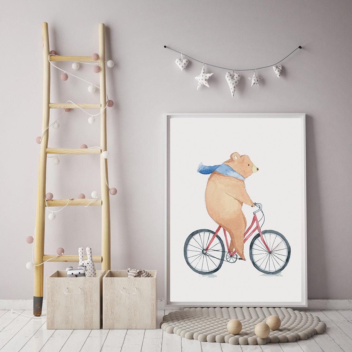 Bear on Bicycle Print for Kids Decor, nimal Poster for Kids example image 2