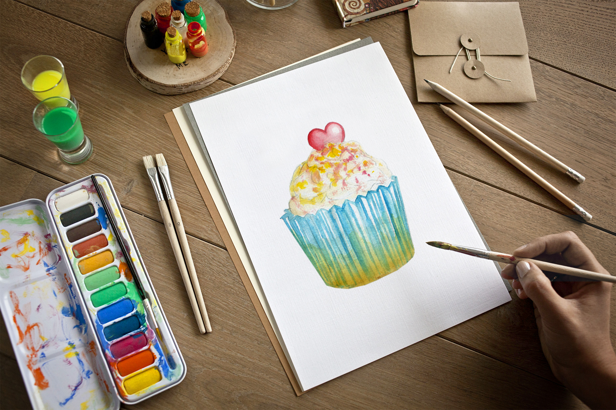 watercolor sweet cakes example image 3