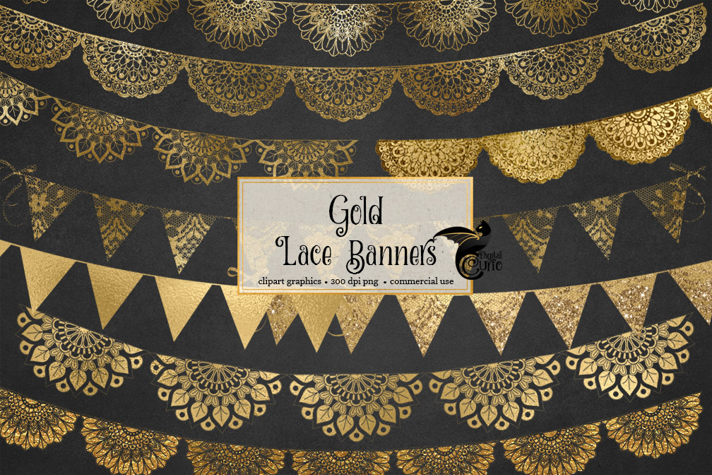 Gold Lace Banners Clipart example image 1