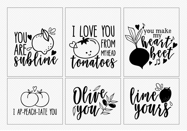 20 Cute Love Notes - Fruits Ver.- Cut File Bundle example image 4