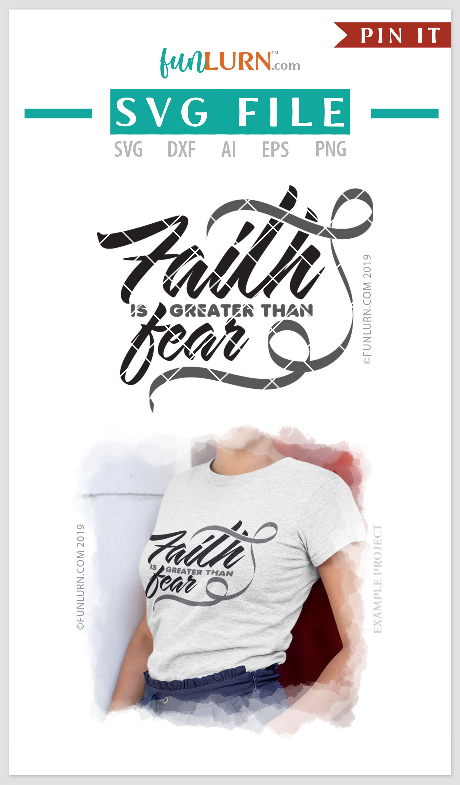 Faith is Greater Than Fear Gray Ribbon SVG Cut File example image 4